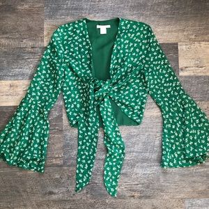Green Floral Tie-Front LS Bell-Sleeve Top